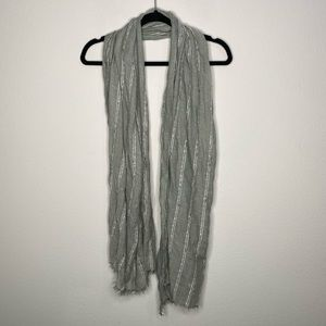 100% Rayon Grey White Striped Scarf